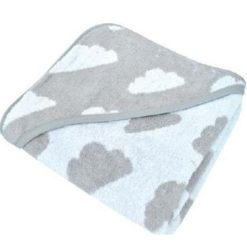 Κάππα – μπουρνούζι μωρού Kikka boo Hooded towel Clouds Gray