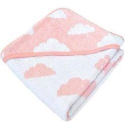 Κάππα – μπουρνούζι μωρού Kikka boo Hooded towel Clouds Pink