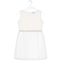 Mayoral Φόρεμα πλισέ με δαντέλα κορίτσι Χρώμα Λευκό