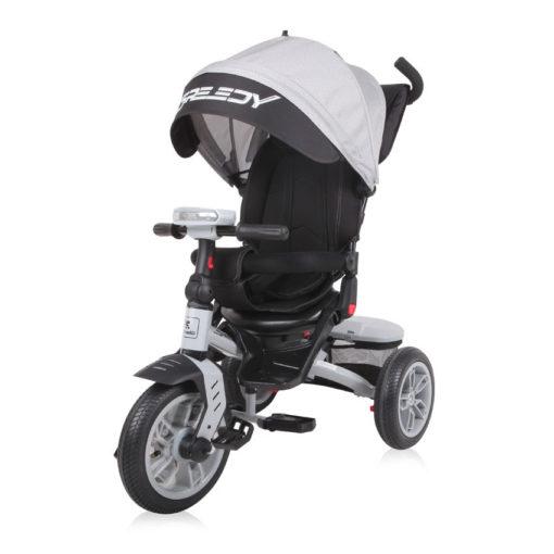 Τρίκυκλο Ποδηλατάκι Speedy με Περιστρεφόμενο Κάθισμα 360° και Φουσκωτά Λάστιχα Grey Black Lorelli