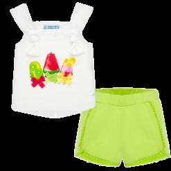 Mayoral Σετ σορτς και μπλούζα φιόγκος baby κορίτσι Χρώμα Φυστικί
