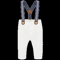 Mayoral Παντελόνι μακρύ τιράντες Νεογέννητο αγόρι Χρώμα Λευκό