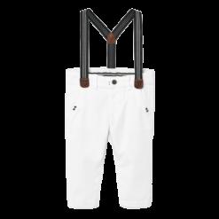 Mayoral Παντελόνι μακρύ τιράντες slim fit baby αγόρι Χρώμα Λευκό