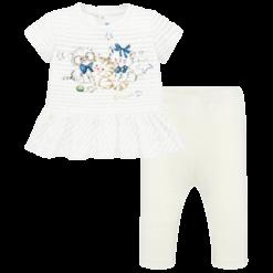 Mayoral Σετ μπλούζα ρίγες και κολάν baby κορίτσι Χρώμα Σαμπάνια