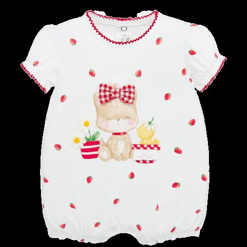 Mayoral Πιτζαμάκι κοντό σχέδιο Νεογέννητο κορίτσι Χρώμα Λευκό