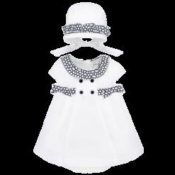 Mayoral Φόρεμα καπέλο και βρακάκι Νεογέννητο κορίτσι Χρώμα Λευκό-Ναυτικό μπλε
