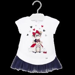 Mayoral Φόρεμα μακό και τούλι baby κορίτσι Χρώμα Άσπρο-Ναυτικό μπλε