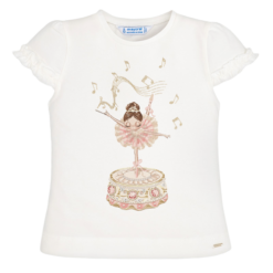 Mayoral Μπλούζα κοντομάνικη βολάν κούκλα κορίτσι Χρώμα Εκρού-Ροδακινί