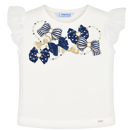 Mayoral Μπλούζα αμάνικη κορίτσι Χρώμα Εκρού-Ναυτικό μπλε