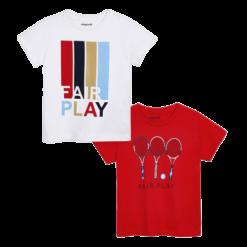 Mayoral Σετ μπλούζες κοντομάνικες Fair Play αγόρι Χρώμα Ιβίσκος