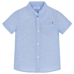 Mayoral Πουκάμισο κοντομάνικο λινό γιακάς μάο αγόρι Χρώμα Γαλάζιο