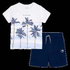 Mayoral Σετ μπλούζα σχέδιο και βερμούδα αγόρι Χρώμα Ναυτικό μπλε