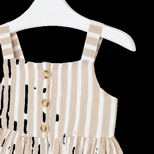 Mayoral Φόρεμα ριγέ λινό κορίτσι Χρώμα Άμμος