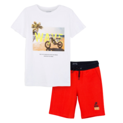 Mayoral Σετ μπλούζα σχέδιο και βερμούδα αγόρι Χρώμα Καγιέν
