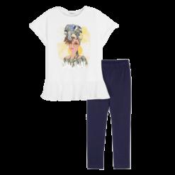 Mayoral Σετ μπλούζα σχέδιο και κολάν κορίτσι Χρώμα Ναυτικό μπλε