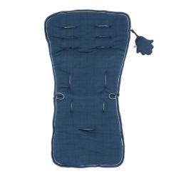 Minene Κάλυμμα Καροτσιού 100% βαμβακερό Διπλή όψη Blue Melange Πλέγμα
