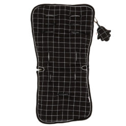 Minene Κάλυμμα Καροτσιού 100% βαμβακερό Διπλή όψη Black Πλέγμα