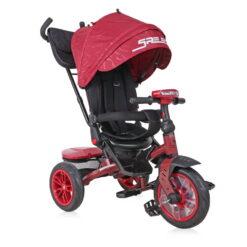 Τρίκυκλο Ποδηλατάκι Speedy με Περιστρεφόμενο Κάθισμα 360° και Φουσκωτά Λάστιχα Black and Red Lorelli