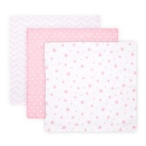 Βρεφικό Σετ 3 ταμάχια πάνες μουσελίνας Lorelli muslin blanket 80x80 εκατοστά pink
