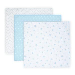 Βρεφικό Σετ 3 τεμάχια πάνες μουσελίνας Lorelli muslin blanket 80x80 εκατοστά Blue