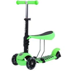 Πατίνι Scooter 3in1 Τρίτροχο με Κάθισμα και Φωτιζόμενες Ρόδες Green Kikkaboo 31006010003