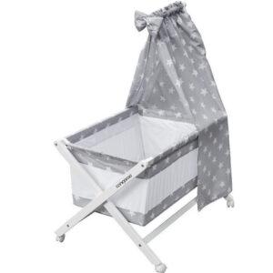 Βρεφικό Ξύλινο Λίκνο Πτυσσόμενο Cassy Grey Stars Cangaroo 3800146247553 Με Προίκα + Δώρο Κουβέρτα 100% Βαμβακερή