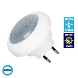 Φωτιστικό Νυκτός Πρίζας LED με Ανιχνευτή Κίνησης και Αισθητήρα Μέρας Νύχτας GloboStar 77864