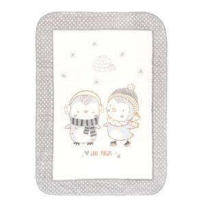 Κουβέρτα Luxury Super Soft 80x110 εκατοστά Love Pingus Grey Kikkaboo