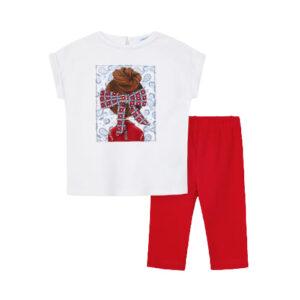 Mayoral Σετ Κολάν Κούκλα Φιόγκος Κορίτσι Χρώμα Κόκκινο
