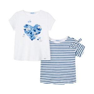 Mayoral Σετ 2 Μπλούζες Κοντομάνικες Κορίτσι Χρώμα Μπλε Σκούρο
